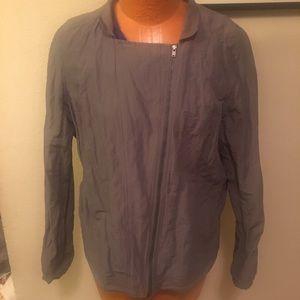 Eileen Fisher Steel Satin Notch Collar Tie Jacket
